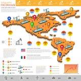 Satz flaches Design von Erdgasfeldern und von Gasanlage infographics Gasproduktion auf dem Amerika und dem Mexiko Lizenzfreies Stockfoto