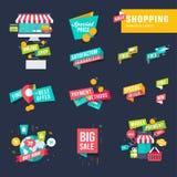 Satz flaches Designeinkaufen wird und Aufkleber deutlich Lizenzfreie Stockbilder