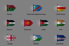 Satz Flaggen in Form eines glatten strukturierten Aufklebers oder eines Bookmarks Lizenzfreie Stockbilder