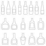 Satz Flaschen mit Aufklebern, Vektorillustration Stockbilder