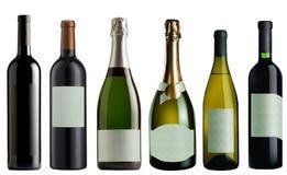 Satz Flaschen Wein und Champagner Lizenzfreie Stockfotos