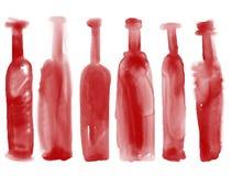 Satz Flaschenwein - Aquarell füllt Hand gezeichnete Art ab Stockfotos