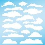Satz flaumige Wolken für Entwürfe Vektor Stockfotos