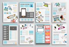 Satz Flieger-Design, Netz-Schablonen Broschüren-Designe Stockfotografie