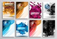 Satz Flieger-Design, Netz-Schablonen Broschüren-Designe Stockfotos