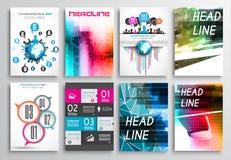 Satz Flieger-Design, Netz-Schablonen Broschüren-Designe, Infographics-Hintergründe Stockfotos