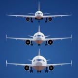 Satz Flugzeuge lokalisiert auf blauem Hintergrund Front View verschiedene Skalen Lizenzfreies Stockbild