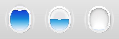 Satz Flugzeugfenster Flache Öffnungen lokalisiert Auch im corel abgehobenen Betrag Stockbilder