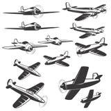 Satz Flugzeugikonen lokalisiert auf weißem Hintergrund Entwurf Lizenzfreie Stockfotografie