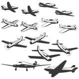 Satz Flugzeugikonen lokalisiert auf weißem Hintergrund Entwurf Lizenzfreies Stockfoto
