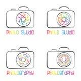 Satz Fotokamerasymbole, -ikonen, -logos und -aufkleber Stockfotos