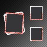 Satz Fotorahmen mit Herzen Stockfotografie