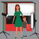 Satz Fotostudioausrüstung, helle flache Ikonen des Weiche, der Kamera und der Optiklinsen Lizenzfreie Stockfotografie