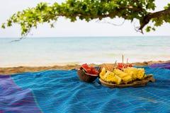 Satz Früchte auf dem Strand Lizenzfreie Stockbilder