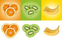 Satz Früchte auf Farb- und Weißhintergründen Orange, Kiwi, bana Stockbilder