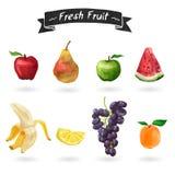 Satz Früchte in der Aquarellart Getrennt Lizenzfreie Stockfotografie