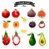 Satz Früchte in der Aquarellart Schneiden Sie, Scheiben Lizenzfreies Stockbild
