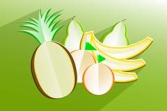 Satz Früchte - kreative Papierikonen Stockbilder