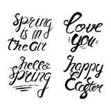Satz Frühlingsbeschriftung Ausweis und Karte für Feier Frühling Stockbild