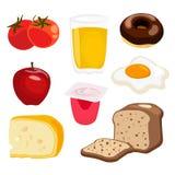 Satz Frühstückselemente, Sammlung Lebensmittelillustrationen Lizenzfreie Stockbilder