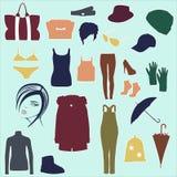 Satz Frauen ` s Mode-Accessoires und Sachen Stockfoto
