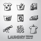 Satz freihändige Wäschereiikonen mit - säubern Sie und vektor abbildung