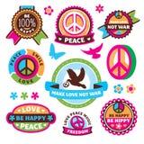 Satz Friedenssymbole und -aufkleber Lizenzfreie Stockfotografie