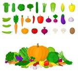 Satz frisches buntes Gemüse Eco auf weißem Hintergrund Gesundes Lebensstil- oder Diätvektorgestaltungselement Gesundes Lebensmitt stock abbildung