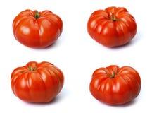 Satz, frisches köstliches Rindfleisch-große Tomate Getrennt auf weißem Hintergrund Stockfotos