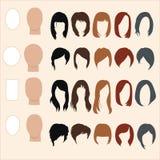 Satz Frisuren für verschiedene Gesichtsformen Lizenzfreies Stockfoto