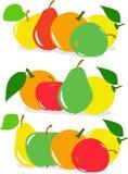 Satz Frucht, Birne, Apfel, Zitrone, Orange, Illustration Stockfotos