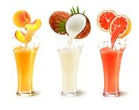 Satz Fruchtsaftspritzen in einem Glas Lizenzfreies Stockfoto