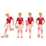 Satz Fußball, Fußballspieler in den verschiedenen Positionen mit Ball stock abbildung