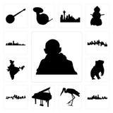 Satz gandhi, Kansas- Cityskyline, Storch, Flügel, Dachs, Indien-Karte, Ikonen Minnesotas, Florida Lizenzfreie Stockbilder