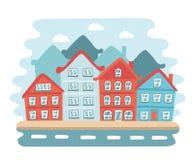 Satz Gebäudeikonen in einer Stadt Lizenzfreie Stockbilder