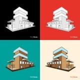Satz Gebäudeskizzenhintergrund Stockfotos