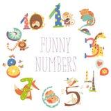 Satz Geburtstags-Jahrestags-Zahlen mit lustigen Tieren vektor abbildung