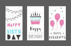 Satz Geburtstagsgruß-Kartendesign farbe Lizenzfreie Stockbilder
