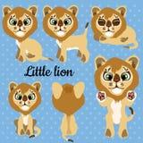 Satz Gefühle ein kleiner Löwe auf einem blauen Hintergrund lizenzfreie abbildung