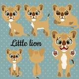 Satz Gefühle ein kleiner Löwe auf einem grauen Hintergrund lizenzfreie abbildung