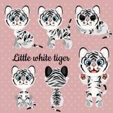 Satz Gefühle ein kleiner weißer Tiger stock abbildung
