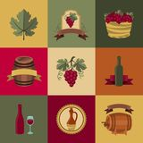 Satz Gegenstände, Ikonen für Wein und Restaurants Lizenzfreies Stockbild