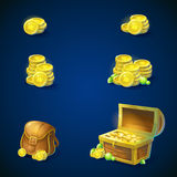 Satz Gegenstände - Münzen, Kasten, Smaragde, Tasche lizenzfreie abbildung