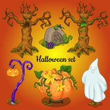 Satz Gegenstände und Symbole des Halloweens stock abbildung