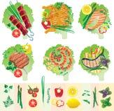 Satz gegrilltes Fleisch und Gemüse Lizenzfreies Stockbild