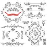 Satz gekräuselte kalligraphische Gestaltungselemente Lizenzfreies Stockbild