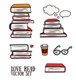 Satz Gekritzelikonen mit Büchern vektor abbildung