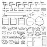 Satz Gekritzelrahmen, -grenzen, -ecken, -teiler, -bänder, -wochentage und -Gestaltungselemente lizenzfreie abbildung