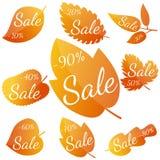 Satz gelb-rote Blätter des Herbstes mit Aufschrift Verkauf Stockfoto