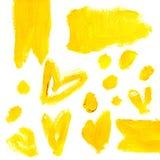 Satz gelbe acrylsauer abstrakte Hand-paintedstains und -hintergründe stock abbildung